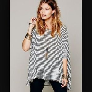 Free people quarter sleeve striped high-low
